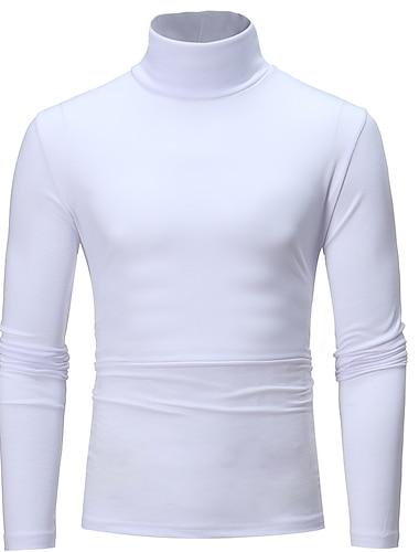 رجالي تي شيرت قميص غير الطباعة لون سادة كم طويل مناسب للبس اليومي نحيل قمم أساسي رقبة دائرية أبيض أسود رمادي فاتح