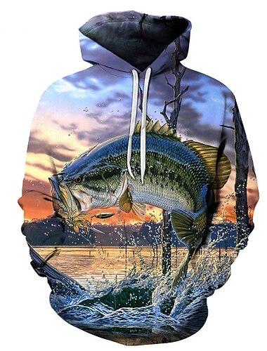 Herre Pullover-hættetrøje Grafisk Hætte Daglig Weekend 3D-udskrivning Basale Afslappet Hættetrøjer Sweatshirts Regnbue