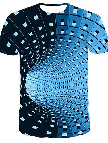 สำหรับผู้ชาย เเสื้อยืด เชิร์ต กราฟฟิค พิมพ์ 3D แขนสั้น ที่มา ท็อปส์ Street Chic พังก์และโกธิค คอกลม สีน้ำเงิน สีม่วง สีดำ / ฤดูร้อน