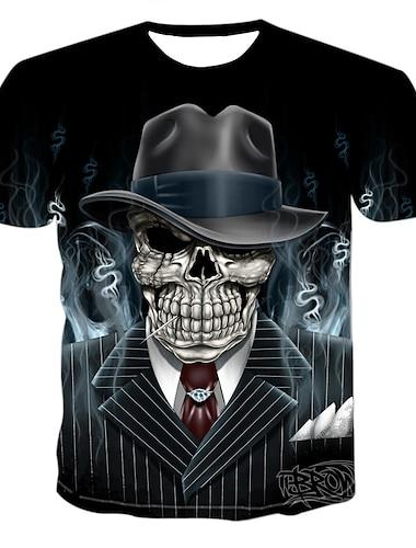 Pánské Tričko Košile Grafika 3D Lebky Tisk Krátký rukáv ulice Topy Punk a gotika Kulatý Černá