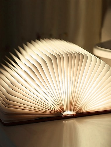 LED Bedside Standing Lamp Book Table Night Lamp Foldable Rechargeable Magnetic for Nightstand Book Shelf or Coffee Table Christmas Gift