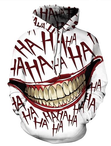 Miesten Pluskoko Huppari Väripalikka 3D Pääkallot Hupullinen Halloween Päivittäin Perus Vapaa-aika Hupparit paidat Valkoinen
