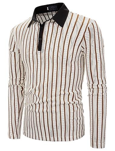 Hombre Camiseta de golf Camiseta de tenis A Rayas Cortado Manga Larga Casual Tops Básico Cuello Camisero Caqui Negro