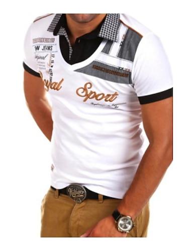 Homens Camisa de golfe Camisa de tenis Letra Bordado Manga Curta Diario Blusas Colarinho de Camisa Azul Branco Preto