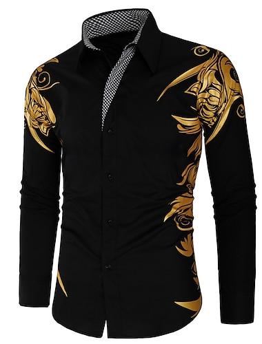 Муж. Рубашка Геометрический принт Длинный рукав Для улицы Верхушки Богемный Классический воротник Белый Черный Красный