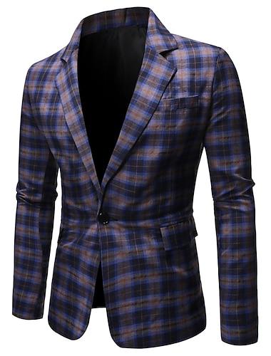男性用 ブレザー レギュラー ポリエステル 男性用 スーツ ブルー / ルビーレッド - ショールラペル