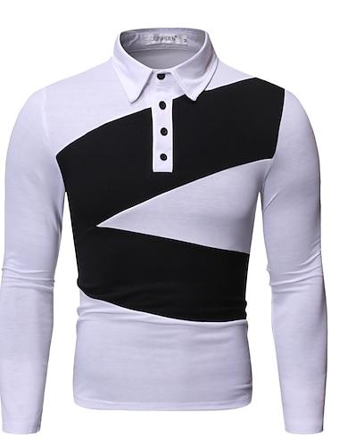 Hombre Camiseta de golf Camiseta de tenis Bloques Retazos Manga Larga Diario Tops Sencillo Blanco Negro Azul Marino