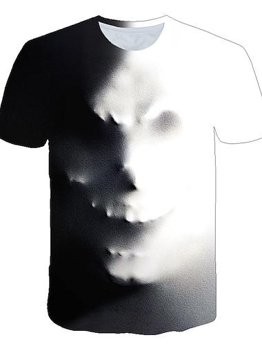 Ανδρικά Μπλουζάκι Πουκάμισο Γραφική 3D Νεκροκεφαλές Στάμπα Κοντομάνικο Causal Άριστος Κομψό στυλ street Εξωγκωμένος Στρογγυλή Λαιμόκοψη Γκρίζο / Καλοκαίρι