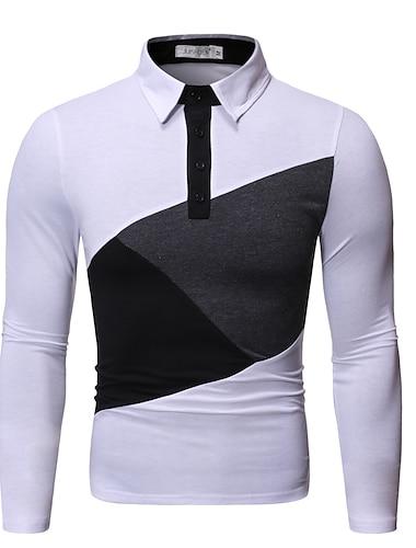Bărbați Cămașă de golf Cămașă de tenis Bloc Culoare Manșon Lung Zilnic Topuri De Bază Alb Negru Gri Închis