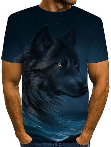 T-shirt Chemise Homme Graphique Geometrique 3D Grandes Tailles Plisse Imprime Manches Courtes Quotidien Sortie Standard Polyester Chic de Rue Exagere Col Rond / Ete / Animal