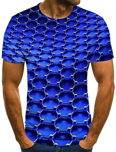 Bărbați Tricouri Tricou Cămașă Tipărire 3D Grafic 3D Print Mărime Plus Imprimeu Manșon scurt Sfârșit de săptămână Topuri Clasic & Fără Vârstă Șic Stradă Comfortabil Mare si inalt Rotund Albastru