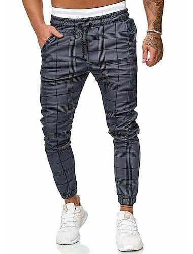 Męskie Podstawowy Moda miejska Typu Chino Spodnie dresowe Spodnie Prążki Solidne kolory Pełna długość Ściągana na sznurek Szary / Ściągacze / Elastyczność