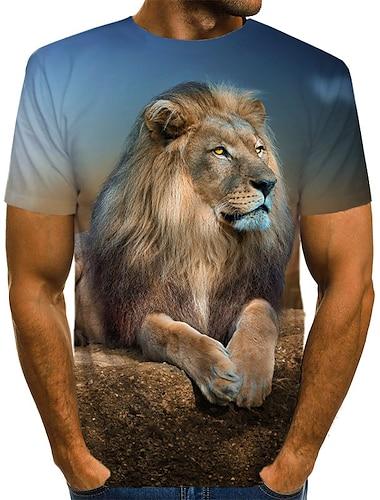 Men\'s Tee T shirt Shirt 3D Print Graphic 3D Lion Animal Print Short Sleeve Daily Tops Vintage Rock Round Neck Yellow Black Brown / Summer