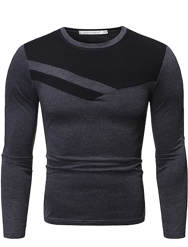 Hombre Camiseta de golf Camiseta de tenis Bloques Geometrico Manga Larga Diario Tops Basico Escote Redondo Blanco Negro Gris Oscuro