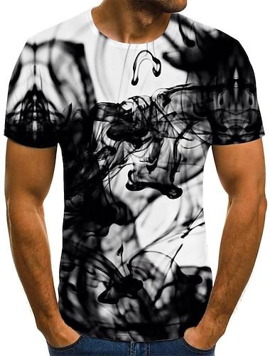 Homens Camiseta Camisa Social Grafico Abstrato Tamanhos Grandes Pregueado Estampado Manga Curta Diario Blusas Moda de Rua Exagerado Decote Redondo Preto / Verao