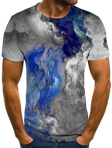 Herre T-Shirts T-shirt Skjorte Grafisk 3D Bogstaver Plusstørrelser Flettet Trykt mønster Kortærmet Daglig Toppe Basale Designer Gade overdrevet Rund hals Regnbue