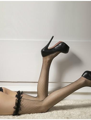 สำหรับผู้หญิง ถุงเท้า ลูกไม้ เซ็กซี่ ถุงน่อง บาง 30D สีดำ