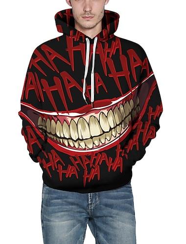 Herren UEbergroesse Kapuzenshirt Karikatur Bedruckt 3D Mit Kapuze Halloween Taeglich Grundlegend Alltag Kapuzenpullover Sweatshirts Schwarz