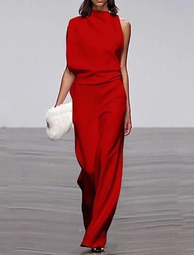 여성 통근 비대칭 소매 퓨어 컬러 점프 슈트 화이트 블랙 레드