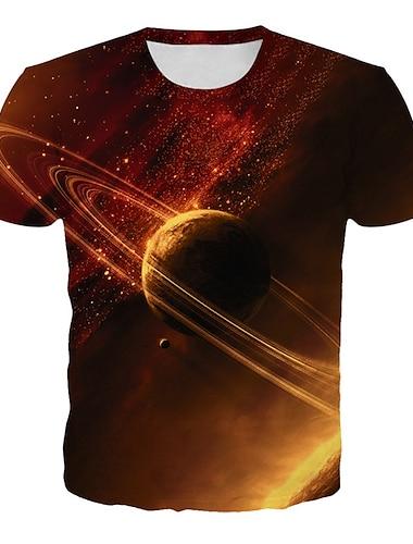 בגדי ריקוד גברים חולצה קצרה חולצה גלקסיה גראפי 3D מידות גדולות דפוס שרוולים קצרים יומי צמרות בסיסי מוּגזָם צווארון עגול כתום / מועדונים