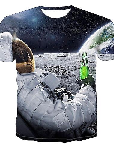 Miesten T-paidat T-paita 3D-tulostus Kuvitettu 3D Astronautti Painettu Lyhythihainen Juhla Topit Pyöreä kaula-aukko Valkoinen Musta Rubiini / Kesä