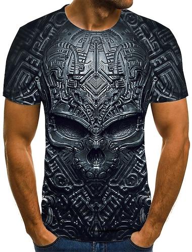 T-shirt Chemise Homme Graphique 3D Crânes Grandes Tailles Imprimé Manches Courtes Quotidien Vacances Standard Nylon Rayonne Chic de Rue Exagéré Col Rond