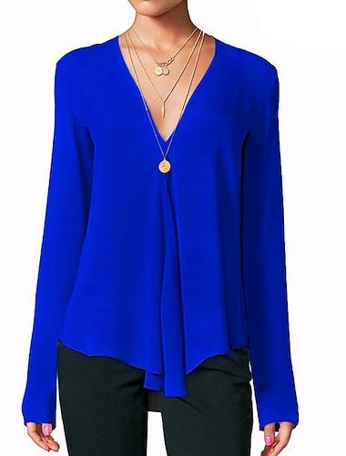 Γυναικεία Μπλουζάκι Μονόχρωμο Μακρυμάνικο Λαιμόκοψη V Άριστος Κρασί Φούξια Βαθυγάλαζο