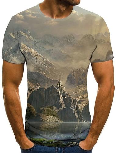 Herre T-shirt Skjorte Grafisk 3D Plusstørrelser Trykt mønster Kortærmet Daglig Toppe Basale overdrevet Rund hals Navyblå / Sport