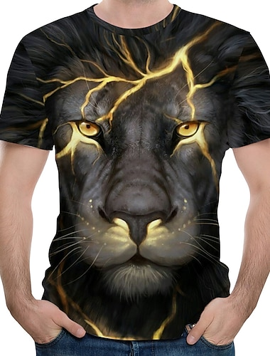 Men\'s Tee T shirt 3D Print Graphic Lion Animal Plus Size Print Short Sleeve Causal Tops Streetwear Exaggerated Blue Purple Green / Summer
