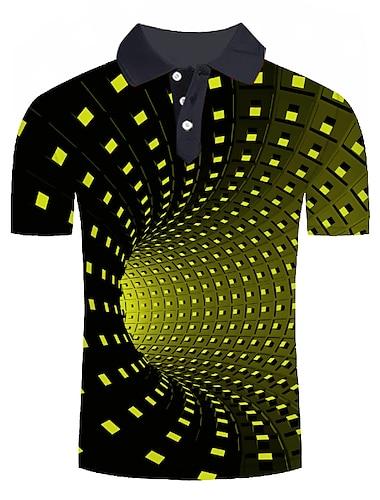 男性用 ゴルフシャツ テニスシャツ グラフィック 3D プラスサイズ プリント 半袖 日常 トップの ベーシック シャツカラー グリーン
