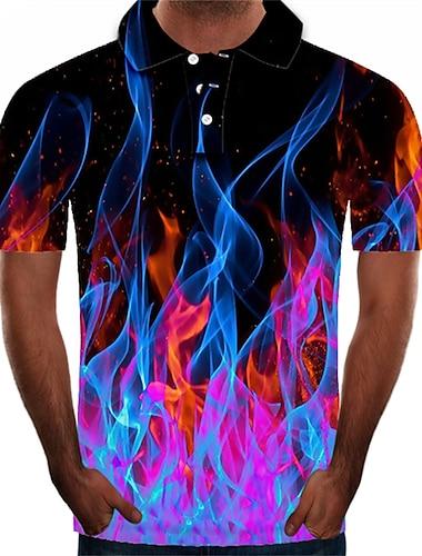 Męskie Koszula golfowa Koszula tenisowa Graficzny 3D Puszysta Krótki rękaw Codzienny Szczupła Najfatalniejszy Moda miejska Przesadny Kołnierzyk koszuli Fioletowy