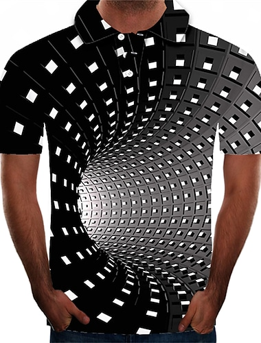 Męskie Koszula golfowa Koszula tenisowa Graficzny 3D Puszysta Krótki rękaw Codzienny Najfatalniejszy Moda miejska Przesadny Kołnierzyk koszuli Czarny