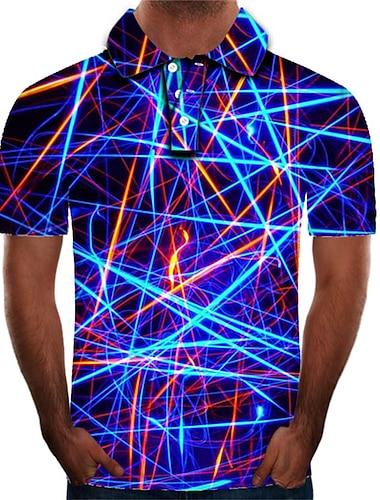 Męskie Koszula golfowa Koszula tenisowa Graficzny 3D Puszysta Nadruk Krótki rękaw Codzienny Szczupła Najfatalniejszy Moda miejska Przesadny Kołnierzyk koszuli Tęczowy