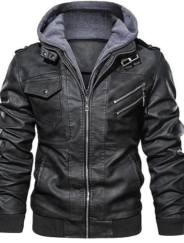 בגדי ריקוד גברים ז\'קטים מעור יומי רגיל מעיל עם קפוצ\'ון רגיל Jackets שרוול ארוך קולור בלוק אפור שחור חום