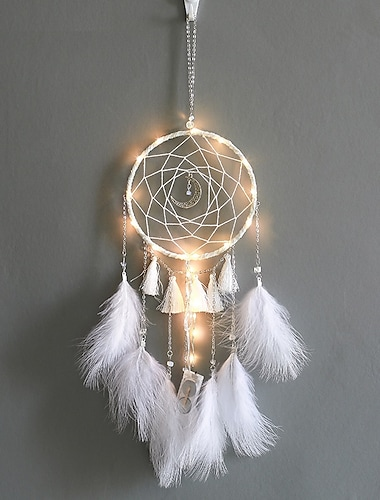 Dream Catcher With Lights Staycation Feathers Hand-Woven Ornaments Birthday Graduation Gift Wall Hanging Decor Home Decoration