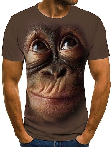 Herre T-shirt Grafisk 3D Dyr Plusstørrelser Trykt mønster Kortærmet Daglig Toppe Gade overdrevet Rund hals Sort Brun / Sommer