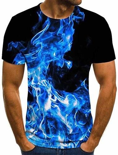 T-shirt Chemise Homme Graphique Geometrique 3D Grandes Tailles Plisse Imprime Manches Courtes Quotidien Sortie Standard Polyester Chic de Rue Exagere Col Rond