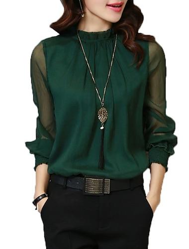 여성용 블라우스 셔츠 솔리드 긴 소매 시스루 메쉬 스탠드 베이직 탑스 와인 화이트 블랙