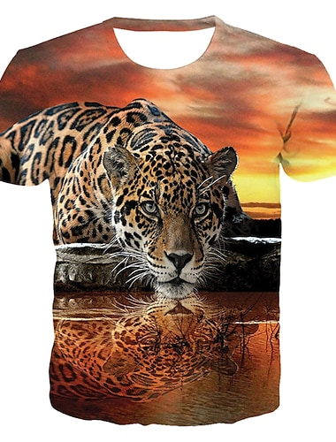 Men\'s T shirt Shirt Graphic 3D Animal Plus Size Print Short Sleeve Daily Tops Basic Exaggerated Round Neck Orange / Club