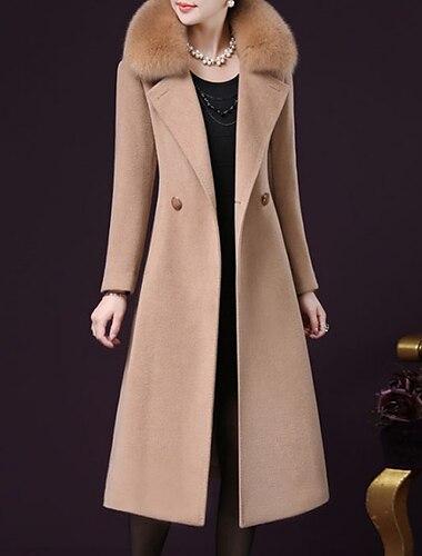 여성용 코트 데이트 가을 겨울 맥시 코트 보통 자켓 긴 소매 솔리드 와인 퓨샤 카멜 / 플러스 사이즈