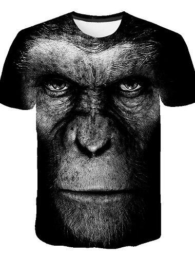 Herre T-Shirts T-shirt 3D-udskrivning Grafisk Orangutang Plusstørrelser Trykt mønster Kortærmet Daglig Toppe Land Gade Bekvem Stor og høj Rund hals Blå Sort Rød
