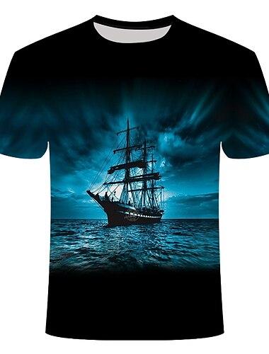 Homens Camiseta Camisa Social Geometrica Tamanhos Grandes Estampado Manga Curta Diario Blusas Basico Moda de Rua Decote Redondo Azul