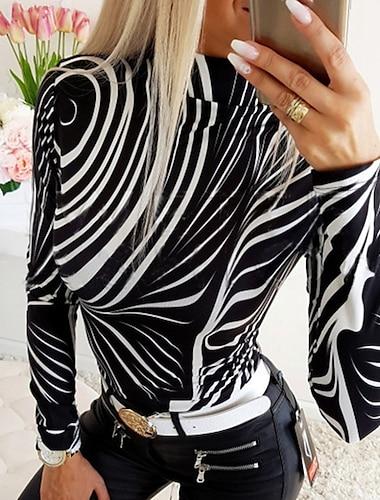 여성용 T 셔츠 줄무늬 긴 소매 라운드 넥 탑스 블랙