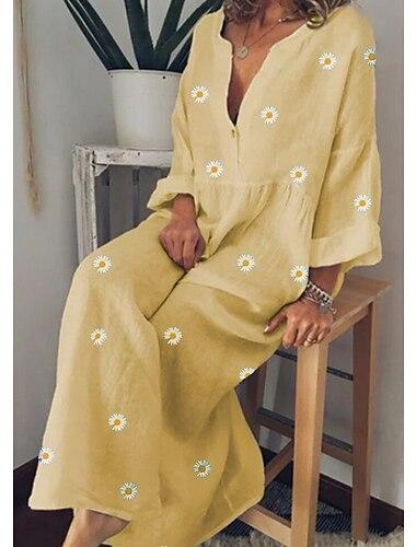 Γυναικεία Φόρεμα σε γραμμή Α Μακρύ φόρεμα Κίτρινο Πράσινο του τριφυλλιού Μπλε Απαλό Μακρυμάνικο Φλοράλ Λουλουδάτο Άνοιξη Καλοκαίρι Λαιμόκοψη V Φαρδιά M L XL XXL 3XL 4XL 5XL / Βαμβάκι / Βαμβάκι
