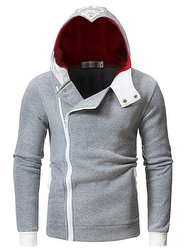 Herre Hattetrøje Hættetrøje med lynlås Farveblok Hætte Daglig Basale Hættetrøjer Sweatshirts Tynd Grå Hvid Sort