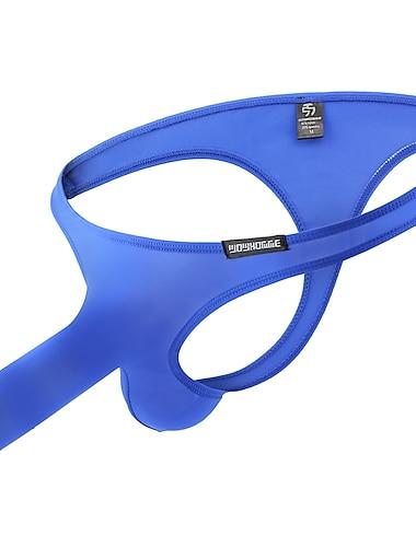男性用 標準 ベーシック Gストリング下着 伸縮性あり ローウエスト 1 PC ブルー M