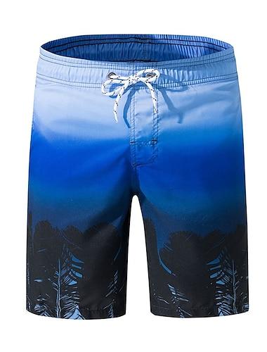 Pánské Šortky na plážovou desku Plavky Tisk Barevné bloky Tropický vzhled Vodní modrá Plavky Plavky