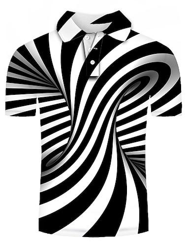 Męskie Koszula golfowa Koszula tenisowa Graficzny Puszysta Krótki rękaw Codzienny Szczupła Najfatalniejszy Podstawowy Przesadny Kołnierzyk koszuli Czarny