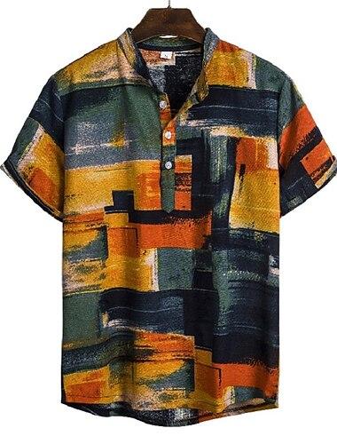Men\'s Shirt Geometric Abstract Print Short Sleeve Daily Tops Basic Elegant Rainbow