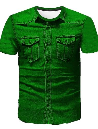 Herre T-shirt Skjorte Ensfarvet Abstrakt Trykt mønster Kortærmet I-byen-tøj Toppe Forretning Gade Rund hals Grøn / Arbejde